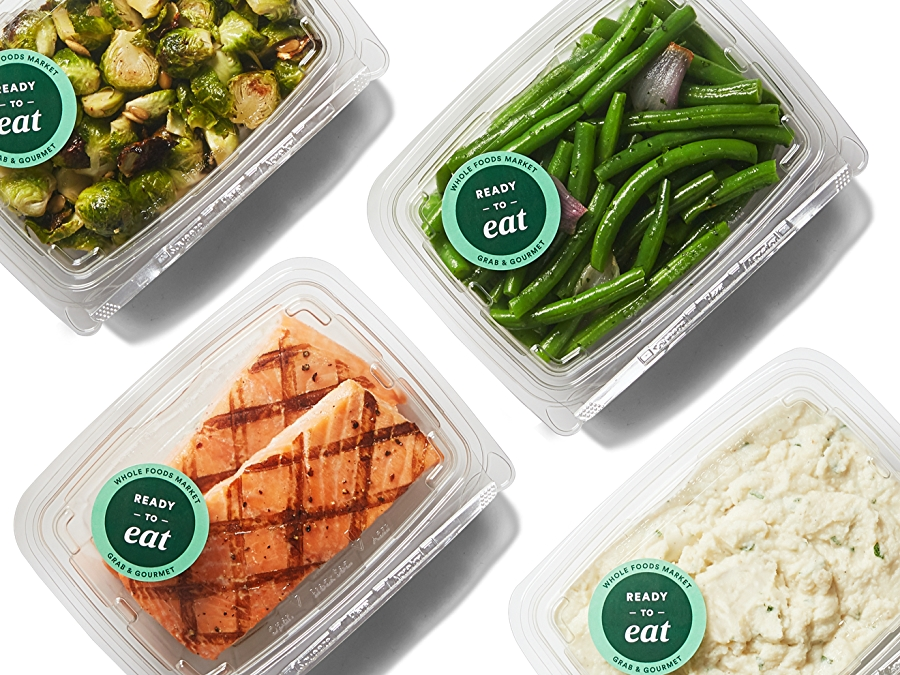 Grab and gourmet selections including Salmon, Mashed Potatoes, green beans, and Brussel sprouts