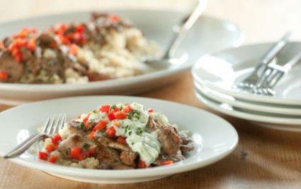 Gyro-Style Lamb with Cucumber-Yogurt Sauce over Quinoa