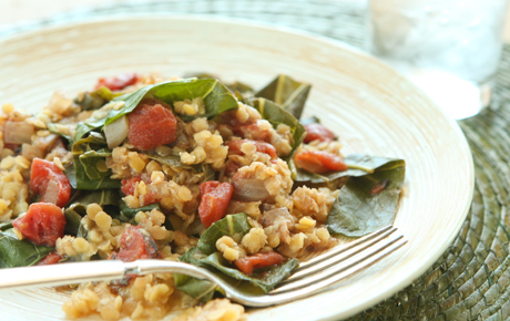 Collards with Lentils, Tomatoes and Indian Spices