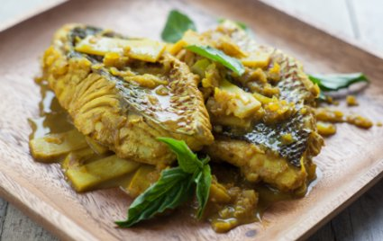 Indonesian-Style Fish with Tamarind-Turmeric Sauce