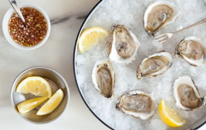 Raw Oysters with Classic Mignonette Garnish