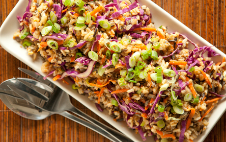 Miso Ginger Wild Rice with Carrots and Cabbage