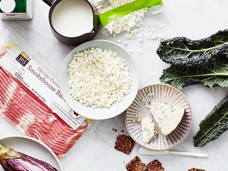 Keto grocery items including bacon, cheese and kale