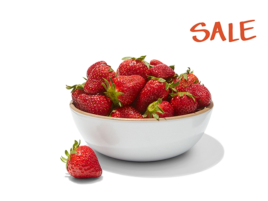 Strawberries in a bowl, sale upper right corner