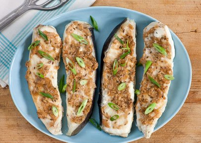 Baked Halibut with Ginger, Tahini and Lime