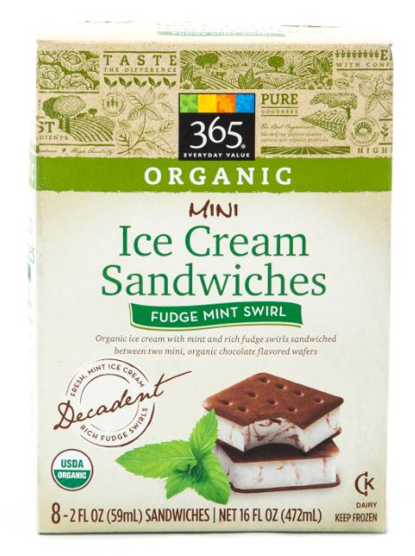 365 Everyday Value® Organic Mini Ice Cream Sandwich Fudge Mint Swirl. (There are eight 2-oz sandwiches in a package.)