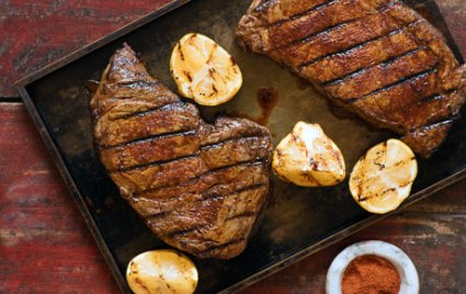 Berbere-Rubbed Rib-Eye Steaks with Grilled Lemon