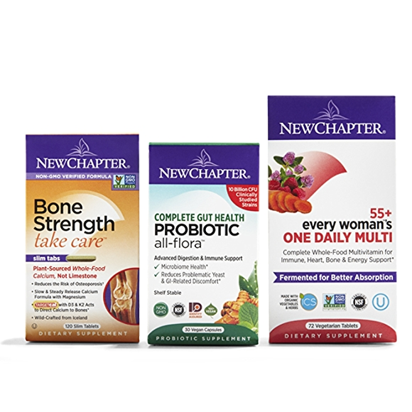 New Chapter Vitamins in their packaging from left to right: bone strength, complete gut health probiotic,  55+ every woman's one daily Multi