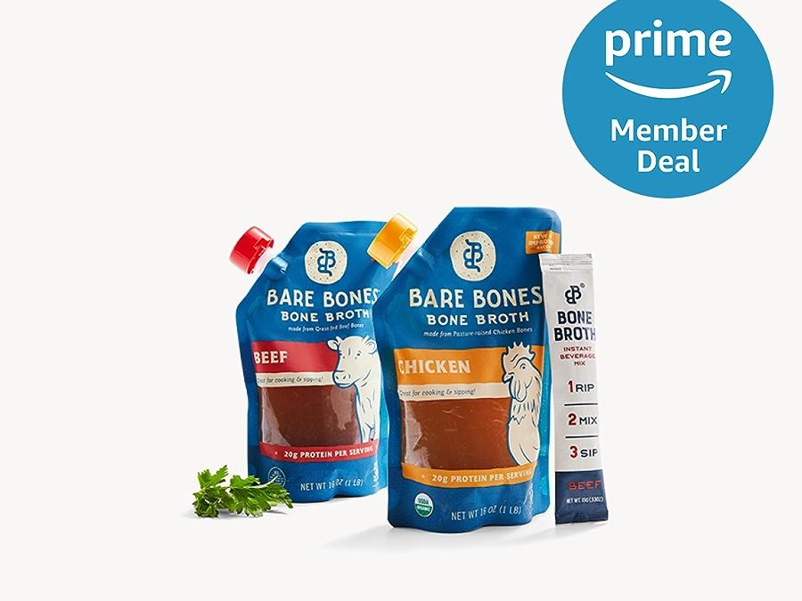 Bare Bone Broth with prime member deal logo in the upper right corner