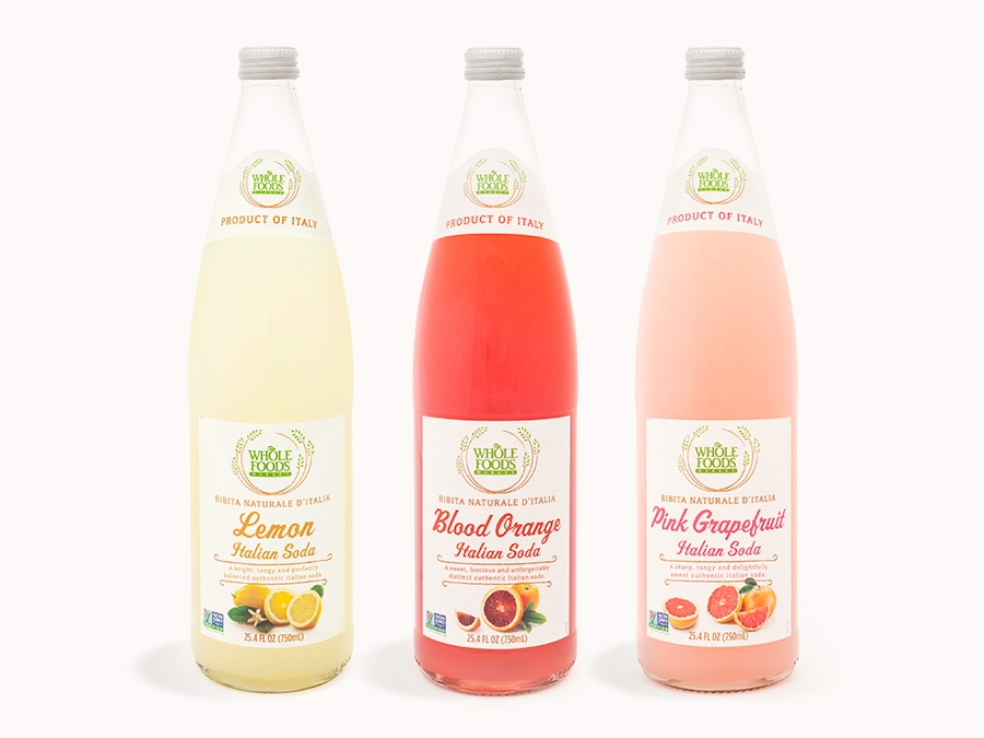 Assorted flavors of sparkling italian soda