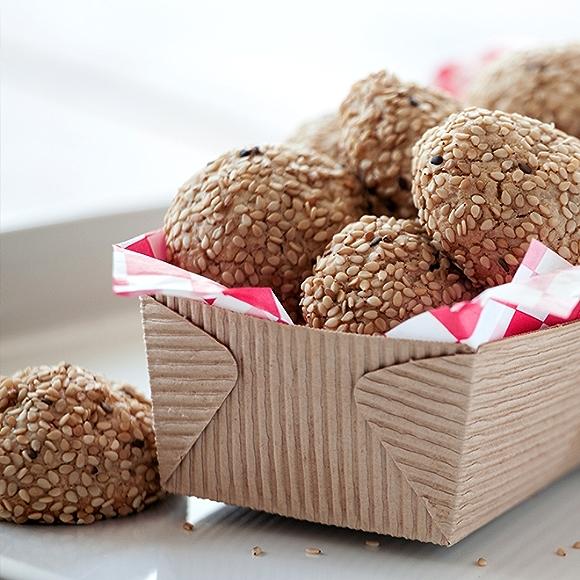 Tahini Oat Cookies in basket