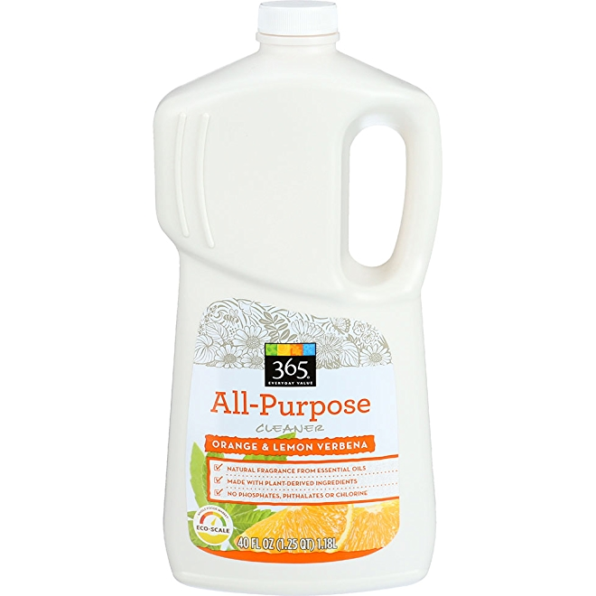 365 Everyday Value All-Purpose Cleaner, Orange and lemon verbena, front of bottle