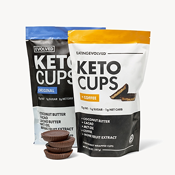 Evolved Keto Cups in packages and in original and coffee flavors