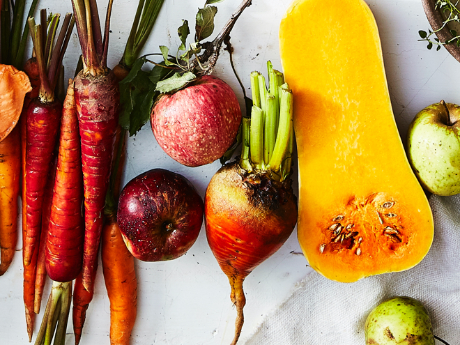Carrots, apples, beets, and butternut squash