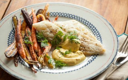 Roasted Cod and Carrots with Turmeric Tzatziki