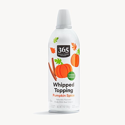 Can of 365 by Whole Foods Market Pumpkin Whipped Cream
