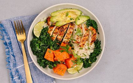 "Paleo Chicken and Veggie Bowl with Cauliflower ""Rice"""