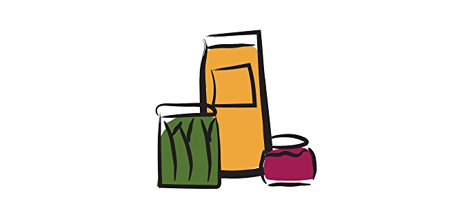 Illustration of condiments and juice stored on refrigerator door