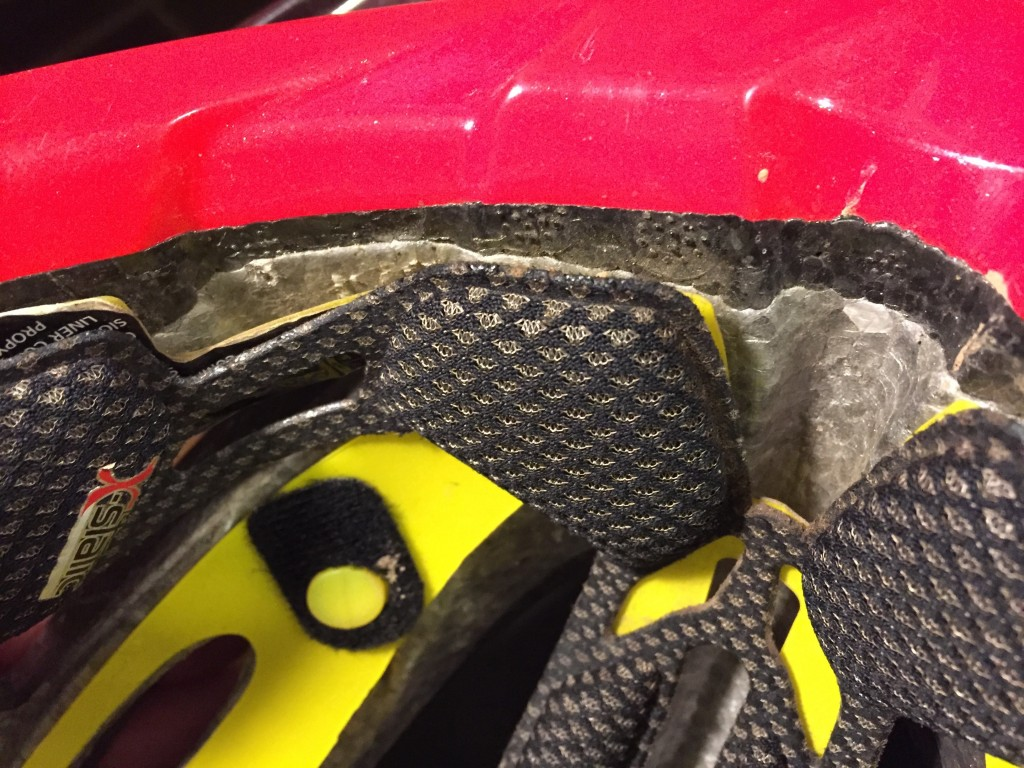 You can see the two different types of foam in the helmet. The...