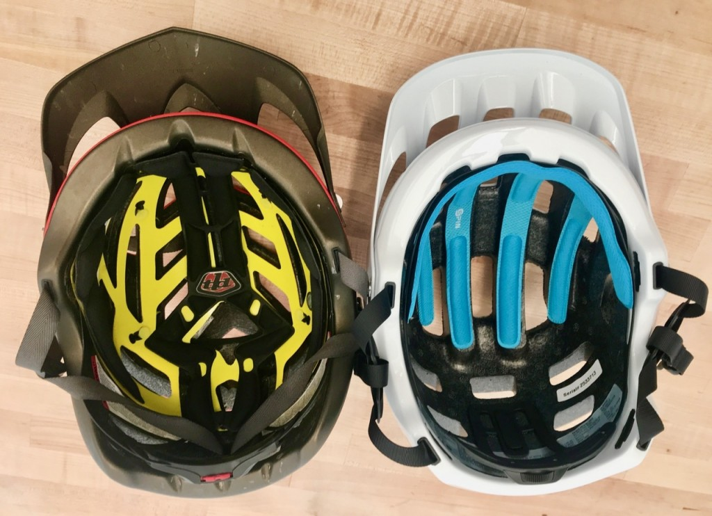 Here we show the yellow MIPS (left) in the Troy Lee A1 and the blue...
