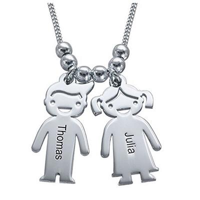 Collar Nombre Hijos Colgante con Dos Nombres de Madre y Collar de Dos niños Personalizado con 2 Nombres de bebés Joyería de Plata: Amazon.es: Joyería