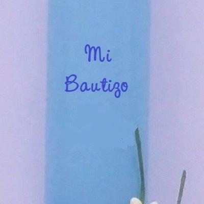 Vela (CIRIO) para Bautizo DE Cera BAÑADA EN Color Azul. Medida 3,2 x 40 CM Decorada con Cochecito BEBÉ DE Fieltro Y Cintas Decorativas Infantiles. ...