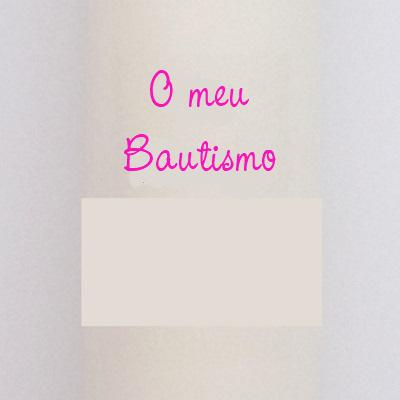 FIESTADEKOR Vela (CIRIO) para Bautizo DE Cera Blanca. Medida 3 x 40 CM Decorada EN Rosa con LOS Dibujos: PIECECITOS Y BEBÉ BIBERÓN (Personalizada)