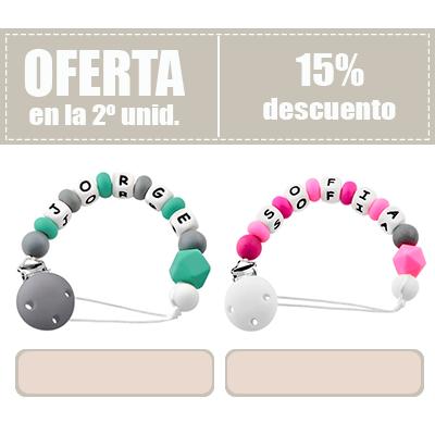 RUBY - Chupetero Personalizado Pinza Silicona y Acero Inoxidable personalizado Bola Silicona Antibacteria | 2º unid al 15% de desc.
