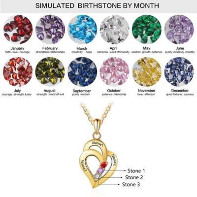 Grand Made Collar Personalizado con el Nombre de la Madre y 3 cuellos simulados Collar con Colgante en Forma de corazón para 3 Collar Personalizado ...
