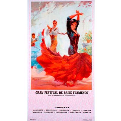 Cartel de flamenco personalizable - Vestido rojo