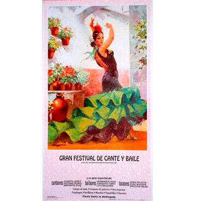 Cartel de flamenco personalizable - Vestido verde