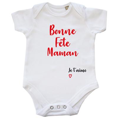 48b71b6c9ecb3 DSTNY Body Bébé Bonne Fête Maman Je t aime + PRÉNOM à Personnaliser ...