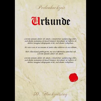 Geschenk Perlenhochzeit 30 Hochzeitstag Urkunde Perlen Hochzeit