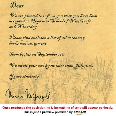 Custom Hogwarts Acceptance Letter.Personalised Hogwarts Acceptance Letter Harry Potter Amazon Co Uk