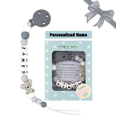 Cadena Chupetes Personalizado Koala Mapache Mordedor Bebes Nombre Cuentas Silicona Sin BPA Rosa Regalo de Ducha (Koala Gris)