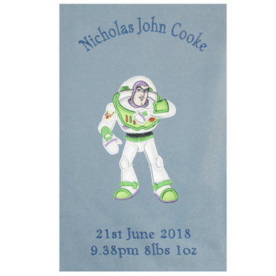 Luxury Personalised Disney Applique Super Soft Fleece Baby Blanket Buzz Lightyear Toy Story Choice of Blanket Colours Available at CUSTOMISATION Point
