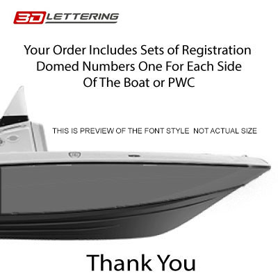 Boat & Jetski Registration Numbers - Domed/Raised Decal (16 pcs) White  Center/Chrome Outline (Wake Series)