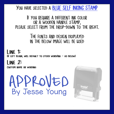Unique Fonts, Approved Rubber Stamp  Custom Personalized - Change Any  Wording! Size Approx 3/4 x 1 7/8