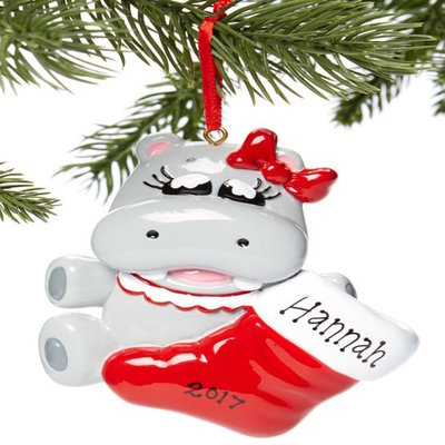 Hippo Christmas Ornament.Hippo With Red Stocking Personalized Christmas Ornament Hippopotamus