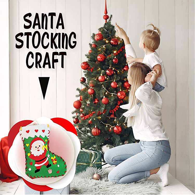 Christmas Gifts Includes Reindeer Food Santa Stocking Craft Christmas Gifts for Girls /& Boys 3D Puzzle of 2 Reindeer with Sleigh /& Santa Face Sticker Sheet Kids Christmas Care Package