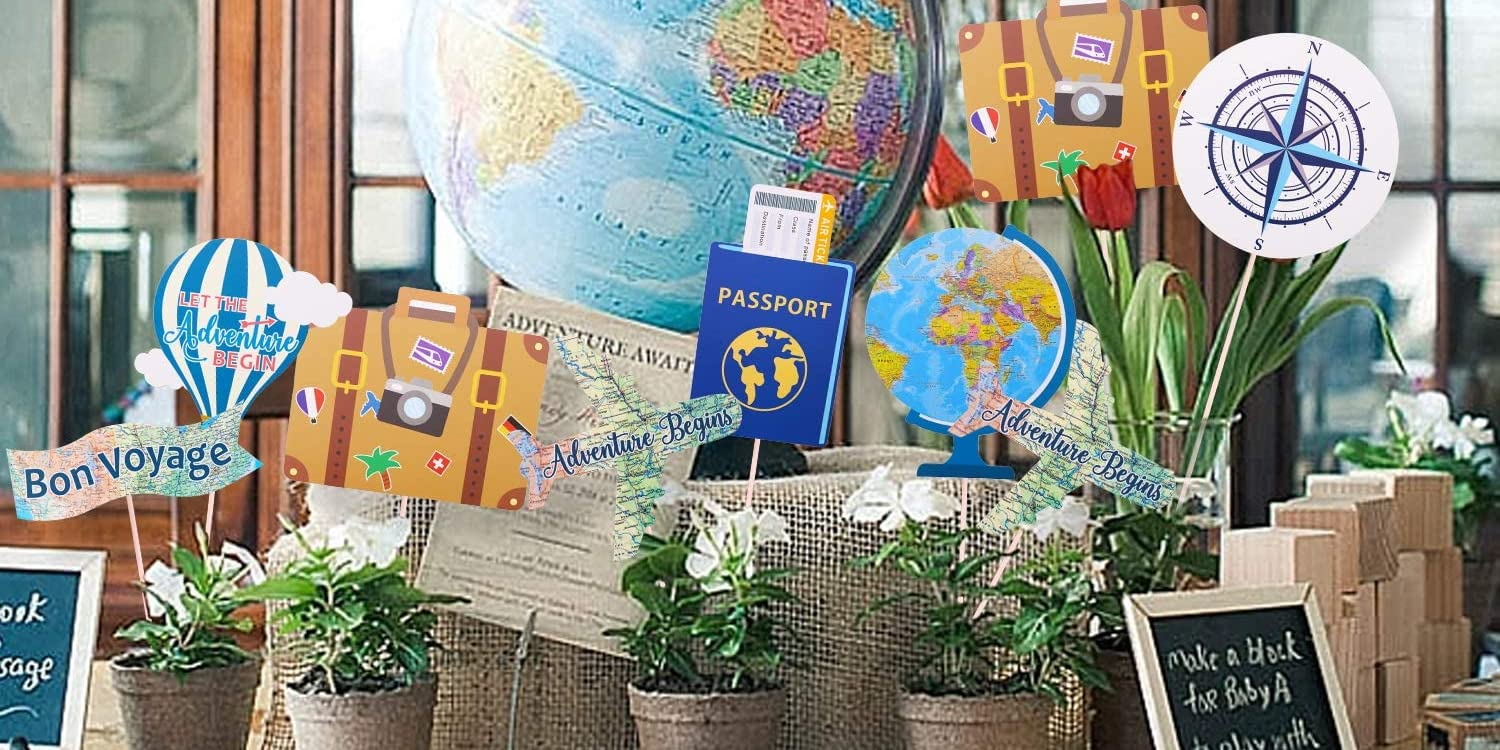 Let the Adventure Begin Centerpieces - Photo Booth Props - 21 Count